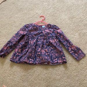 Floral fox print blouse